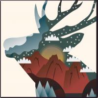 Иллюстрация оленя для обложки меню