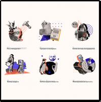 Серия иконок арт-коллажи
