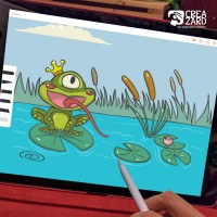 Cyclops Frog: рисовка фона игры для Андроид на планшете