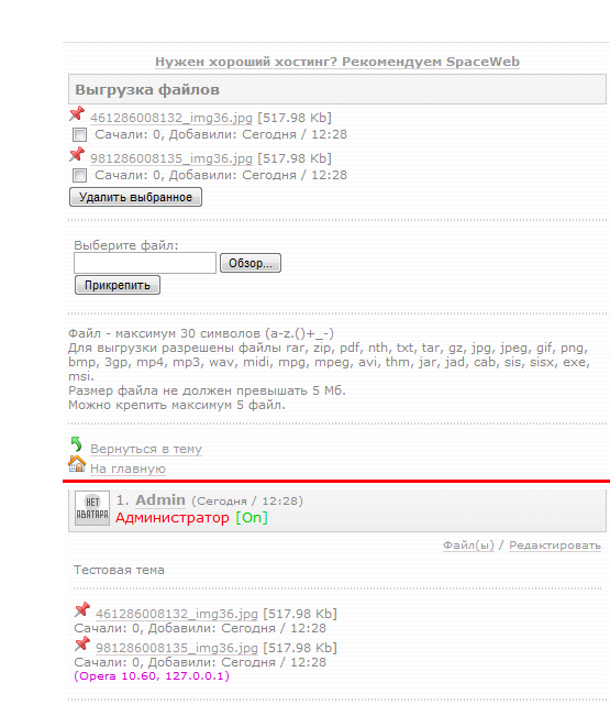 Файлы на форуме (RotorCMS)