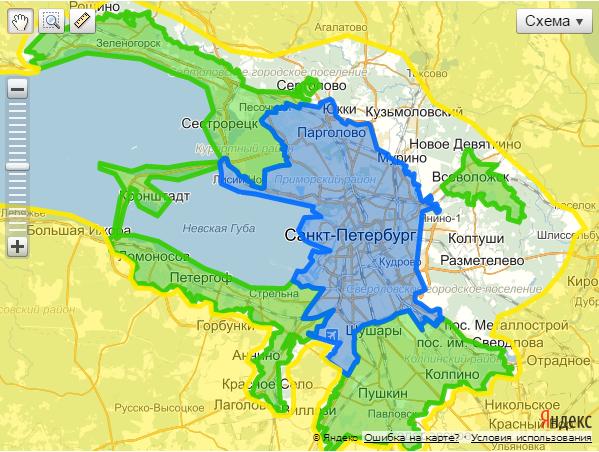 Карта Санкт-Петербурга с делением по районам