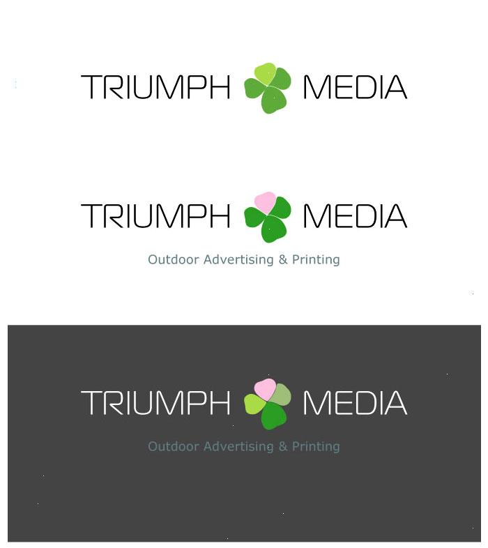 Разработка логотипа  TRIUMPH MEDIA с изображением клевера фото f_50770e2abbde7.jpg