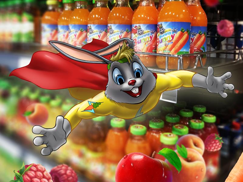 Персонаж Заяц для морковного сока. Также для этого проекта отрисовывались фрукты.