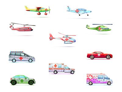 Иконки медицинского транспорта. 3000 р/шт