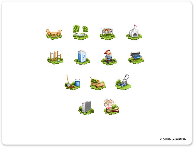 Иконки для интернет-магазина садового инвентаря.