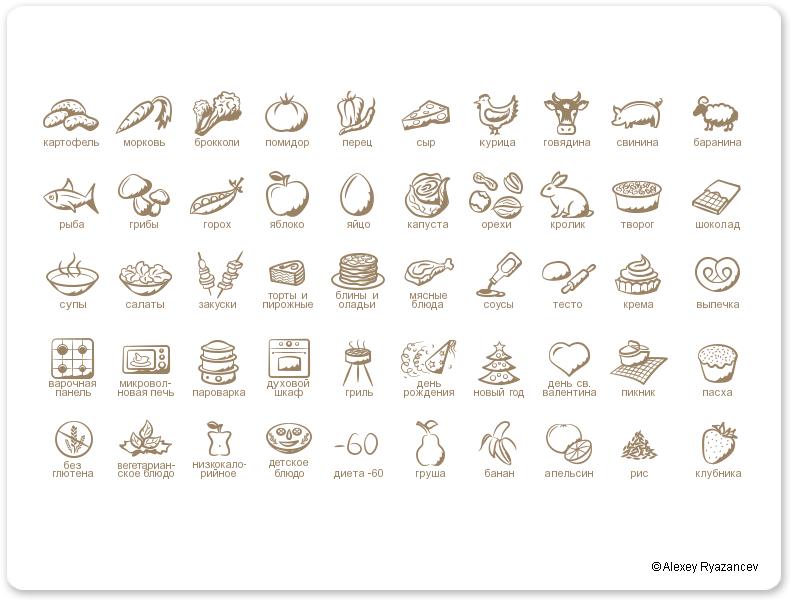 Иконки для кулинарного сайта Поварешкин