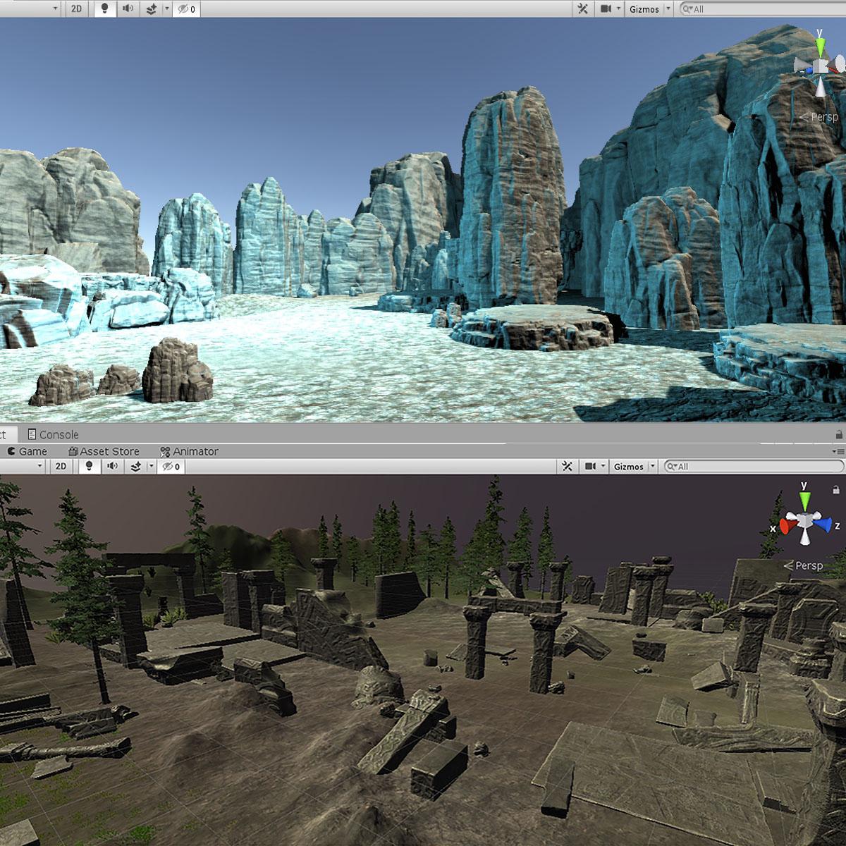 Разработка левел дизайна в Unity для игры в VR. Плагины(aссеты) Gaia (природный ландшафт), RAM (вода лава)