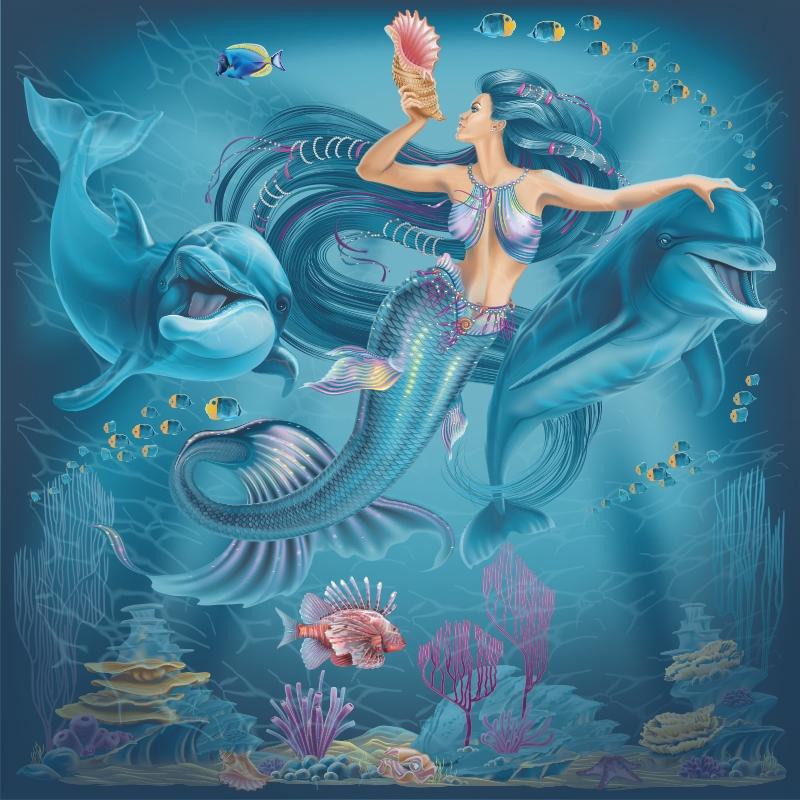 """Керамическое панно: """"Русалка и дельфины"""""""