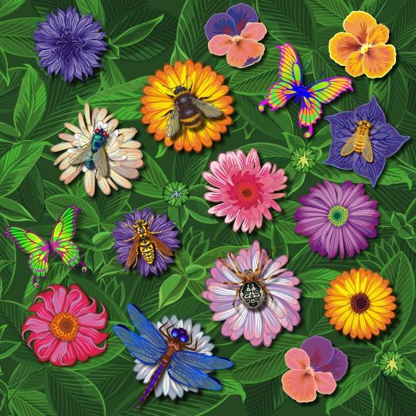 Поле с цветами, для прогулок бабочек
