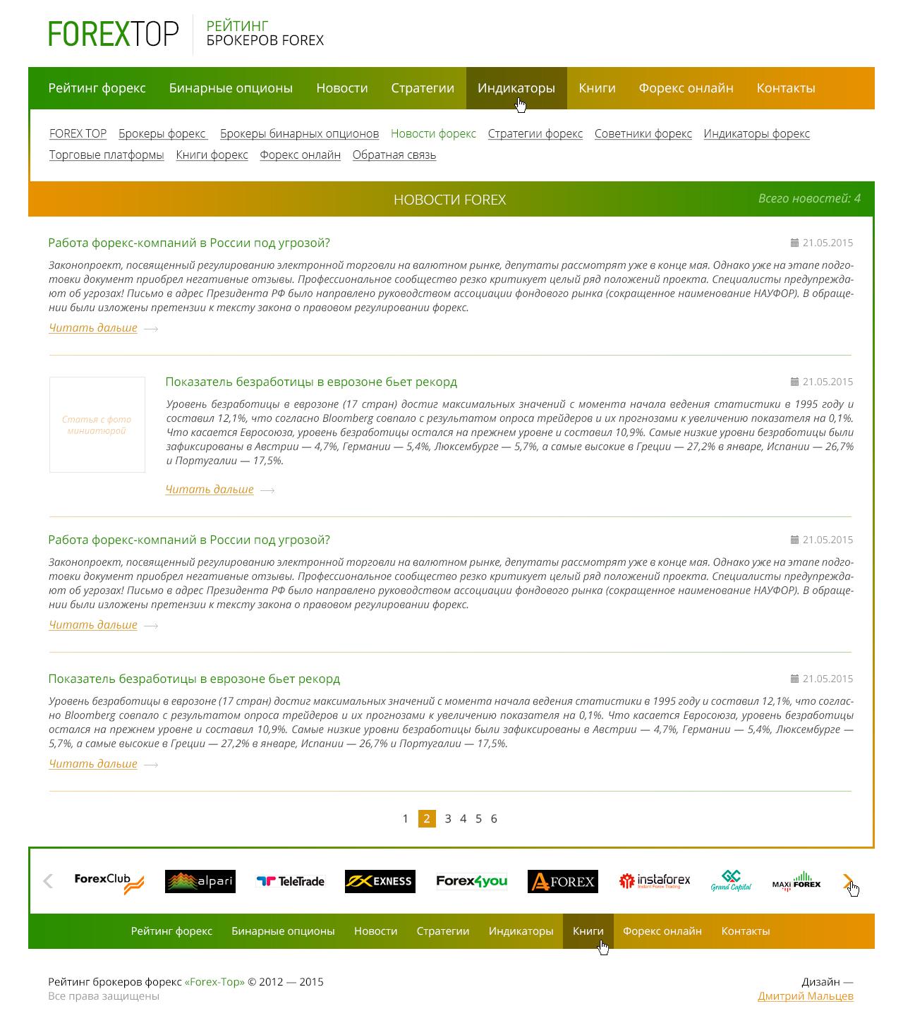 Forex Top — Рейтинг брокеров форекс. Дизайн, адаптивная вёрстка, интеграция.