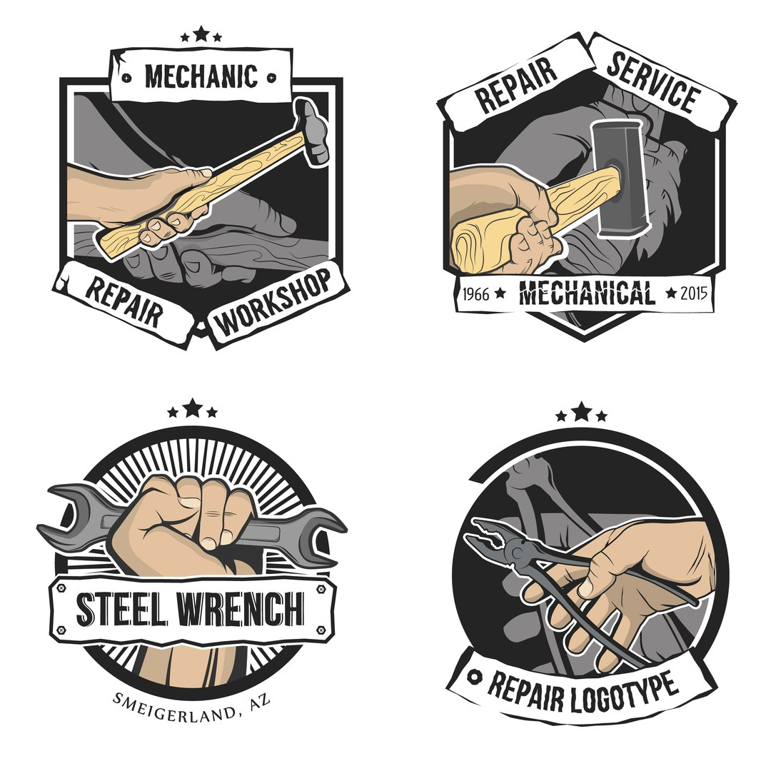 Vector repair labels isolated in vintage style