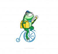 Логотип септика - персонаж лягушка.