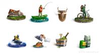 Иконки для отеля рыбалки