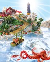 Рекламная фотография пейзажа из продуктов «Рассвет в стиле Foodscape»
