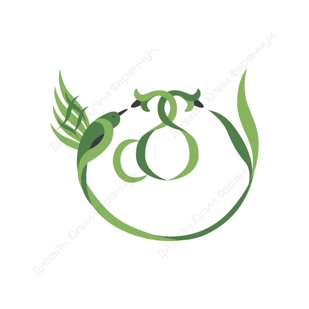 Разработка логотипа в виде хэштега #easy с зеленой колибри  фото f_9905d501ff36d94b.jpg