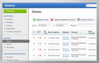 Админка сайта по продаже билетов www.mir34.ru