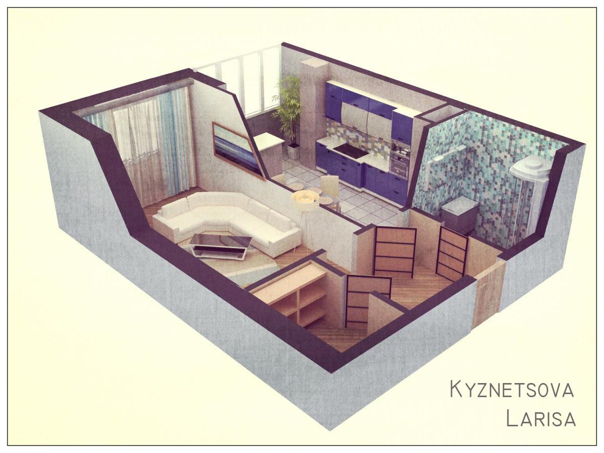 План 1 комнатной квартиры