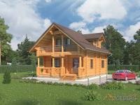 Небольшой жилой дом из оцилиндрованного бревна с террасой