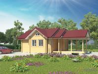 Проект загородной бани с большой открытой террасой