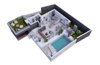 № 13  3d план дома 2 этажа
