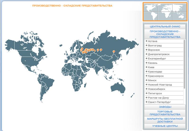 Карта представительств компании DoorHan
