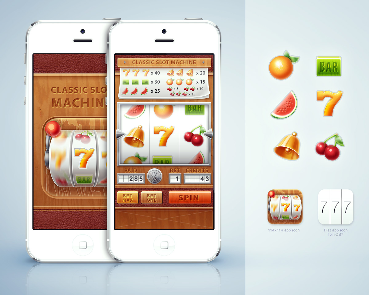 Интерфейс iPhone приложения «Slot Gem»
