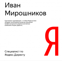 Сертификат Яндекс.Директ (новый)