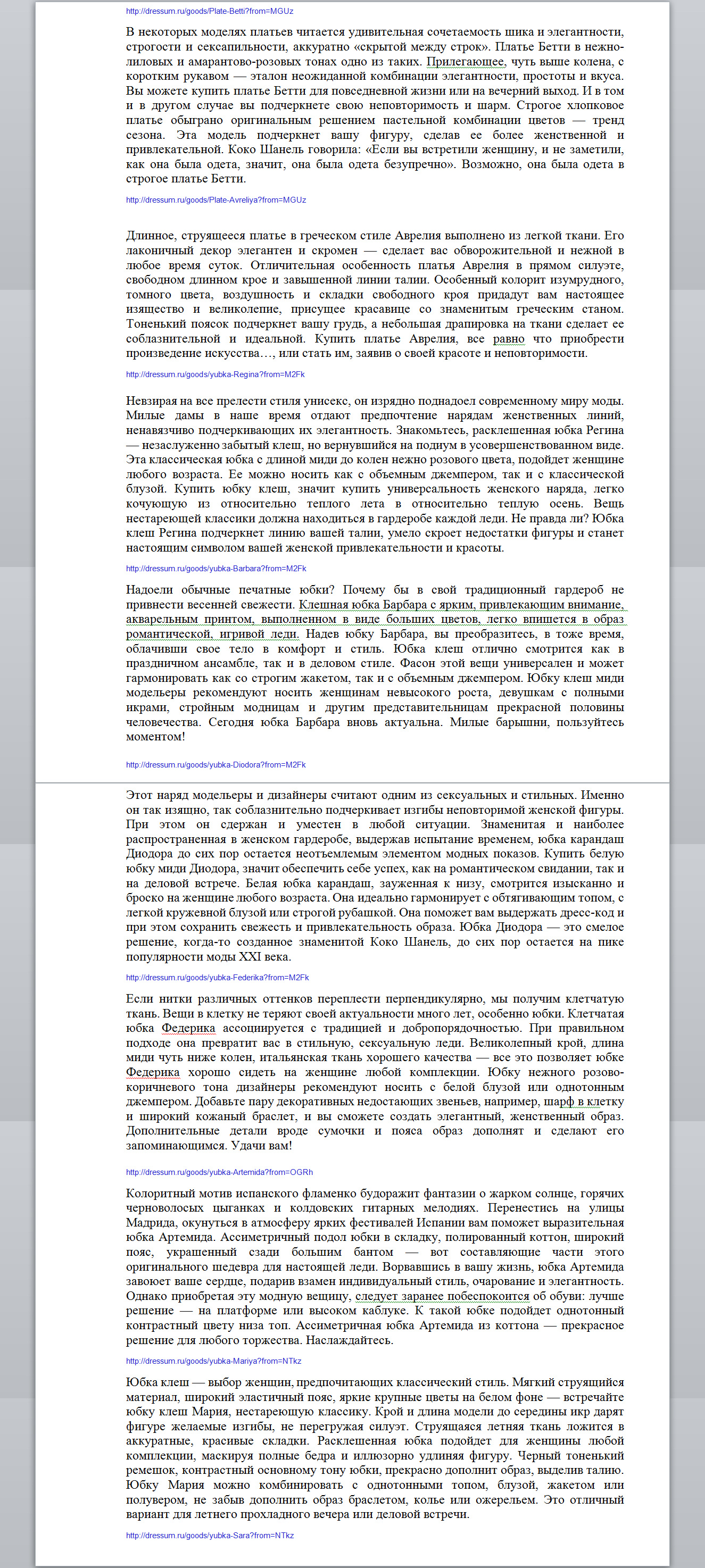 Описания к платьям (более 300 текстов написано и опубликовано в интернет-магазин)