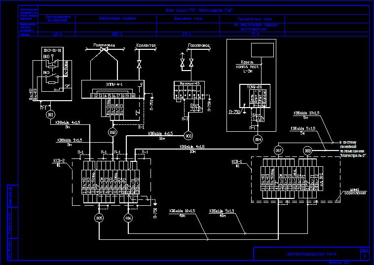 Схема соединений внешних проводок крана входа ГРС.
