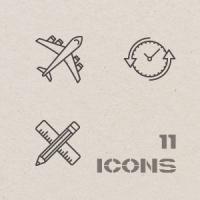 Контурные Новогодние иконки