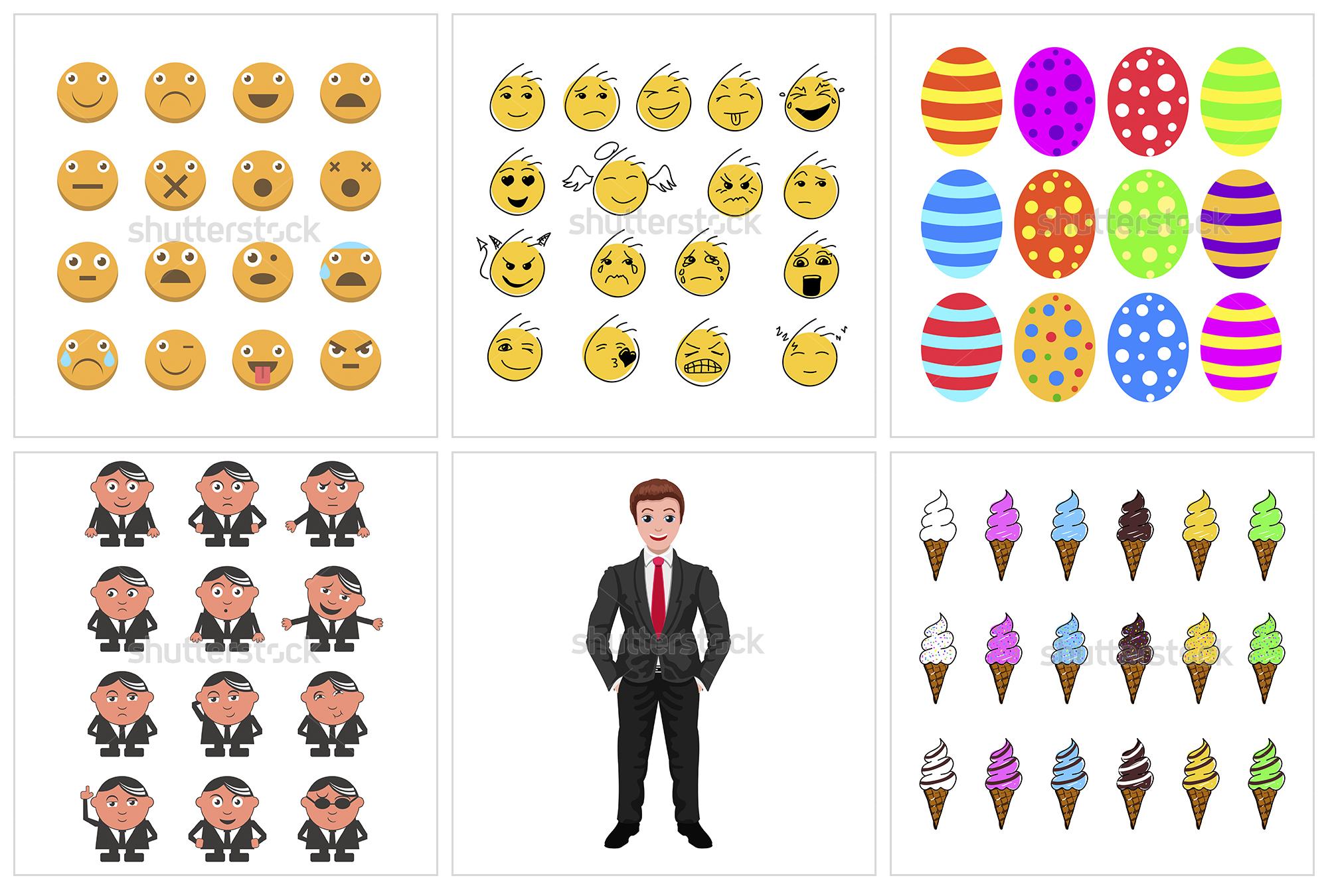 Векторные смайлики, иконки и персонажи