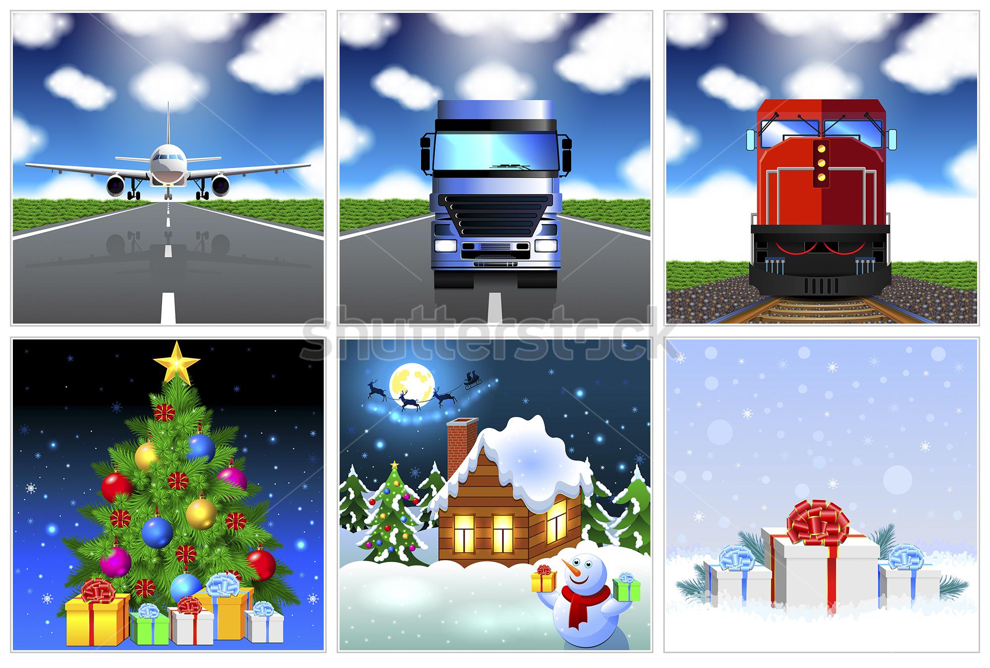 Векторные иллюстрации Нового года и грузоперевозок