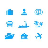 Туристические минималистичные иконки