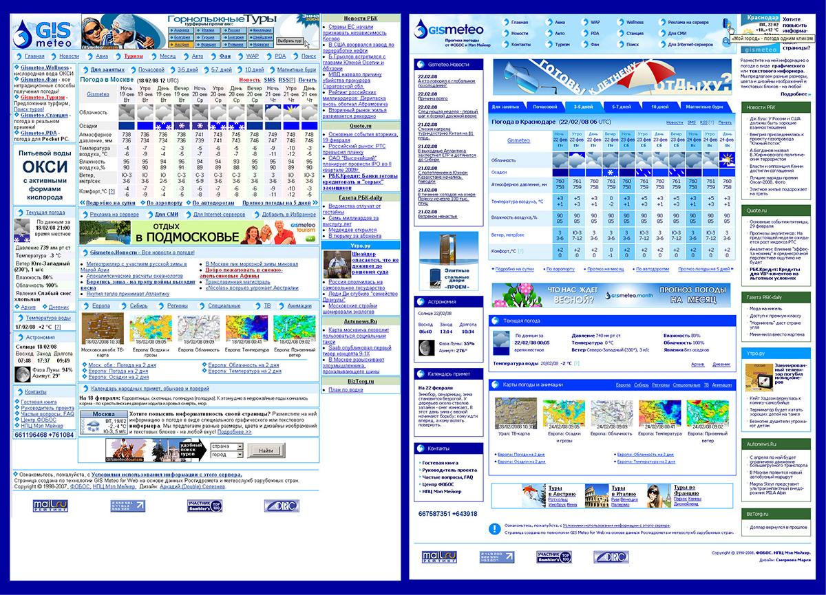 Дизайн сайта GISMETEO