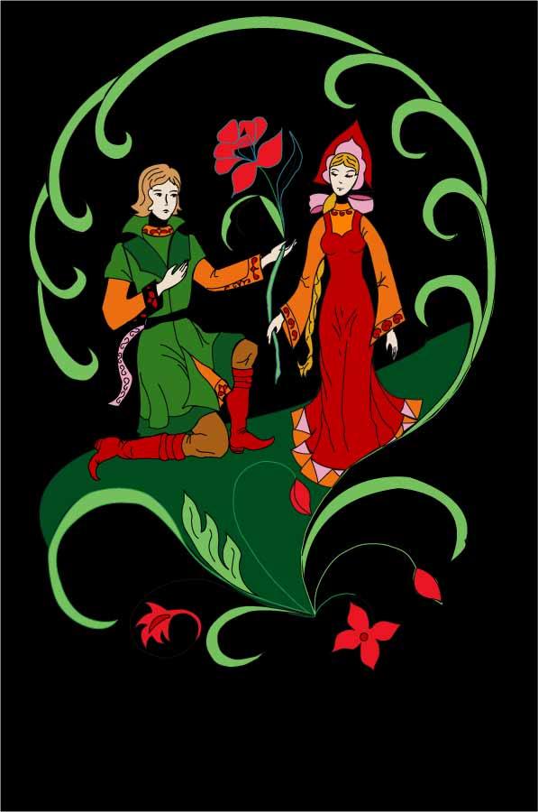 """Иллюстрация к сказке """"Аленький цветочек"""""""