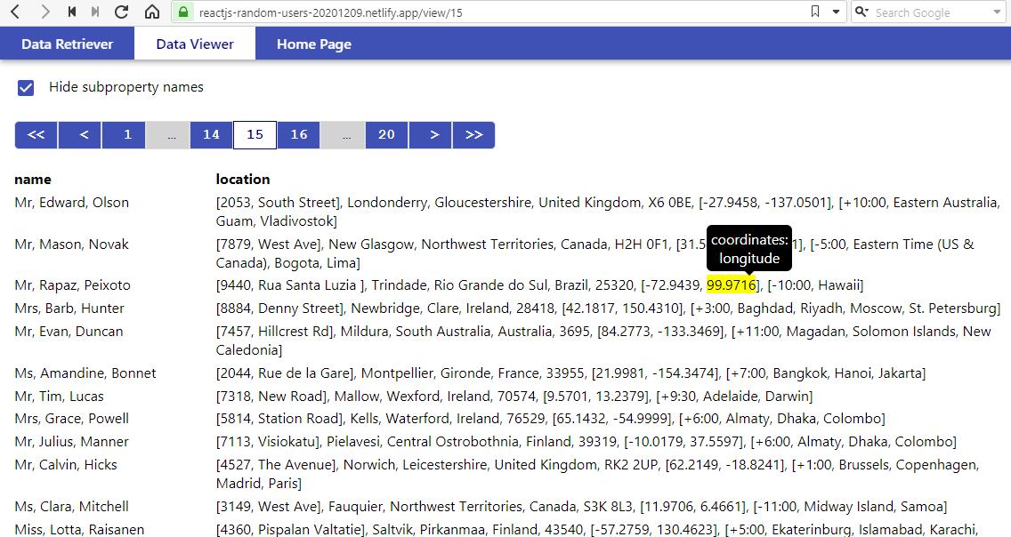 Веб-приложение для получения и просмотра данных с сайта RandomUser.me