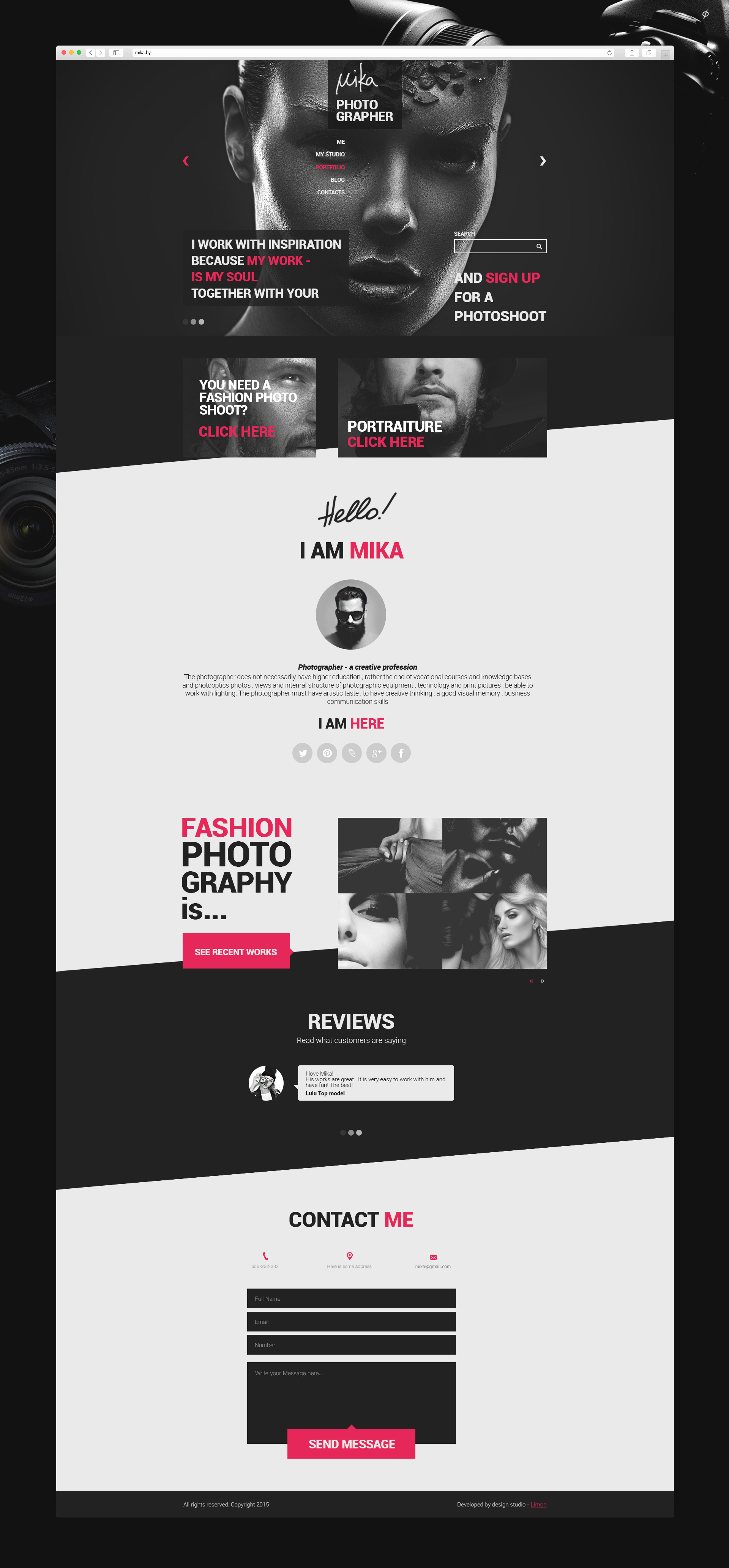 Дизайн сайта фотографа Mika