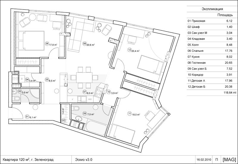 Планировка квартиры 120 кв.м
