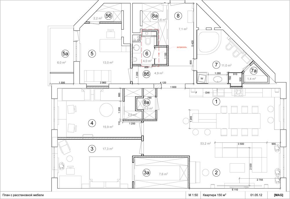 Планировка квартиры 150 кв.м