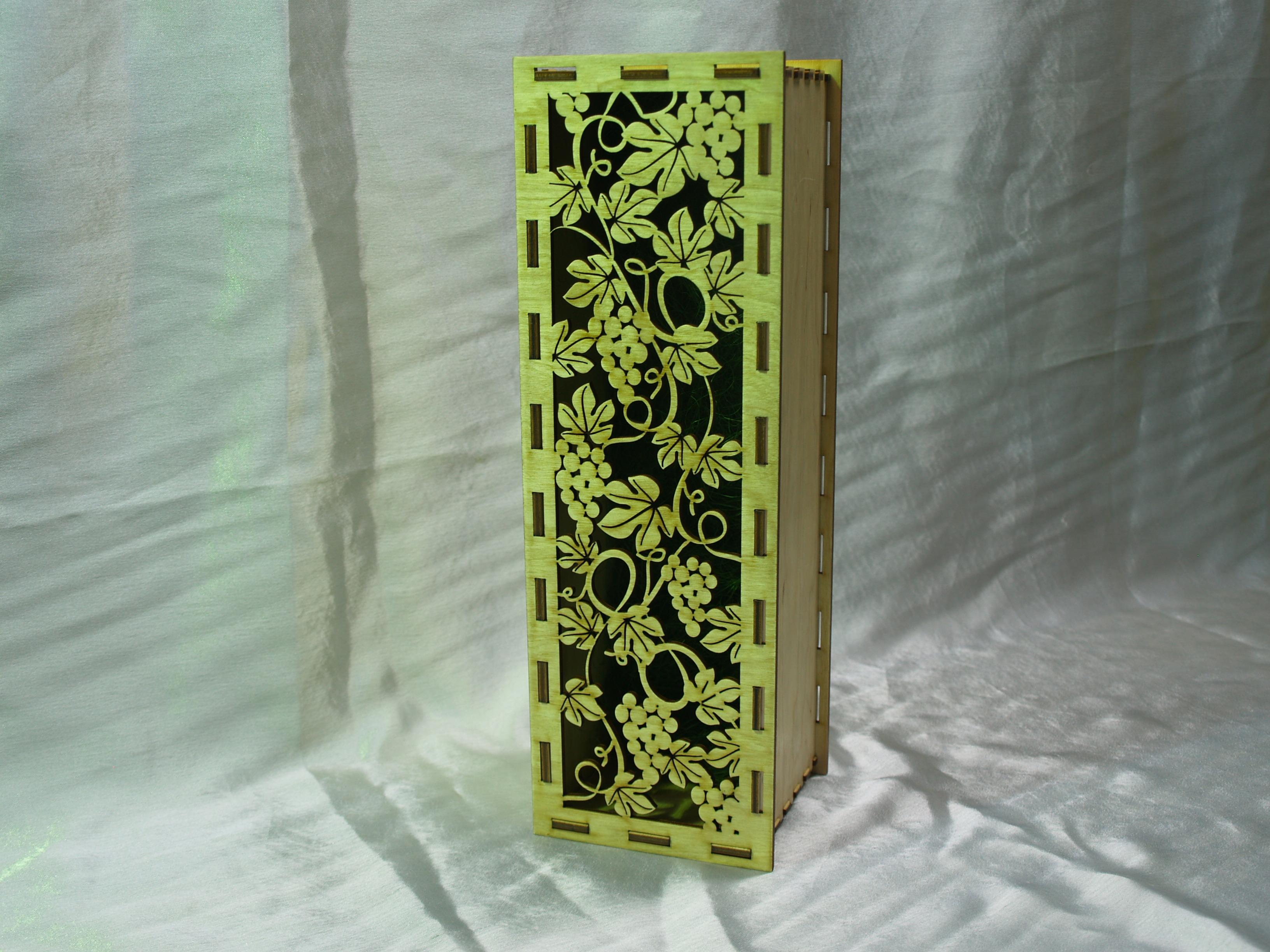 винная коробка 2, лазерная резака - гравировка, фанера