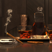 "3D иллюстрация ""Виски со льдом"""