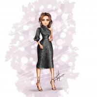 Девушка в черном платье.
