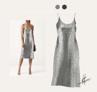 Фешн иллюстрация - платье пайетки