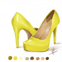 Фешн иллюстрация - канареечные туфли