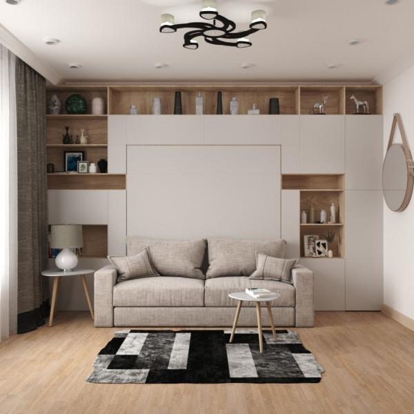 Спальня-гостиная в скандинавском стиле.