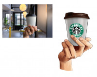 реалистичная рука с кофе