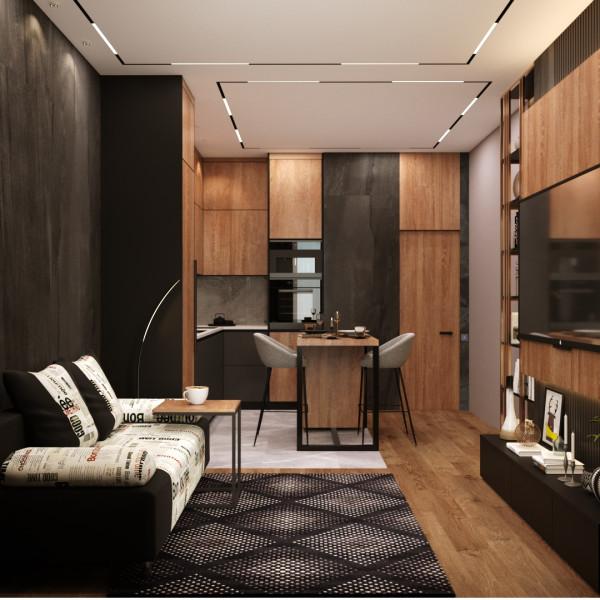 Гостиная студия в стиле модерн