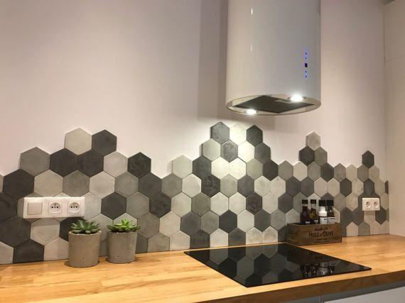 Дизайн кухонного фартука гексагональным пиксель-артом фото f_1805e1dd213b9382.jpg