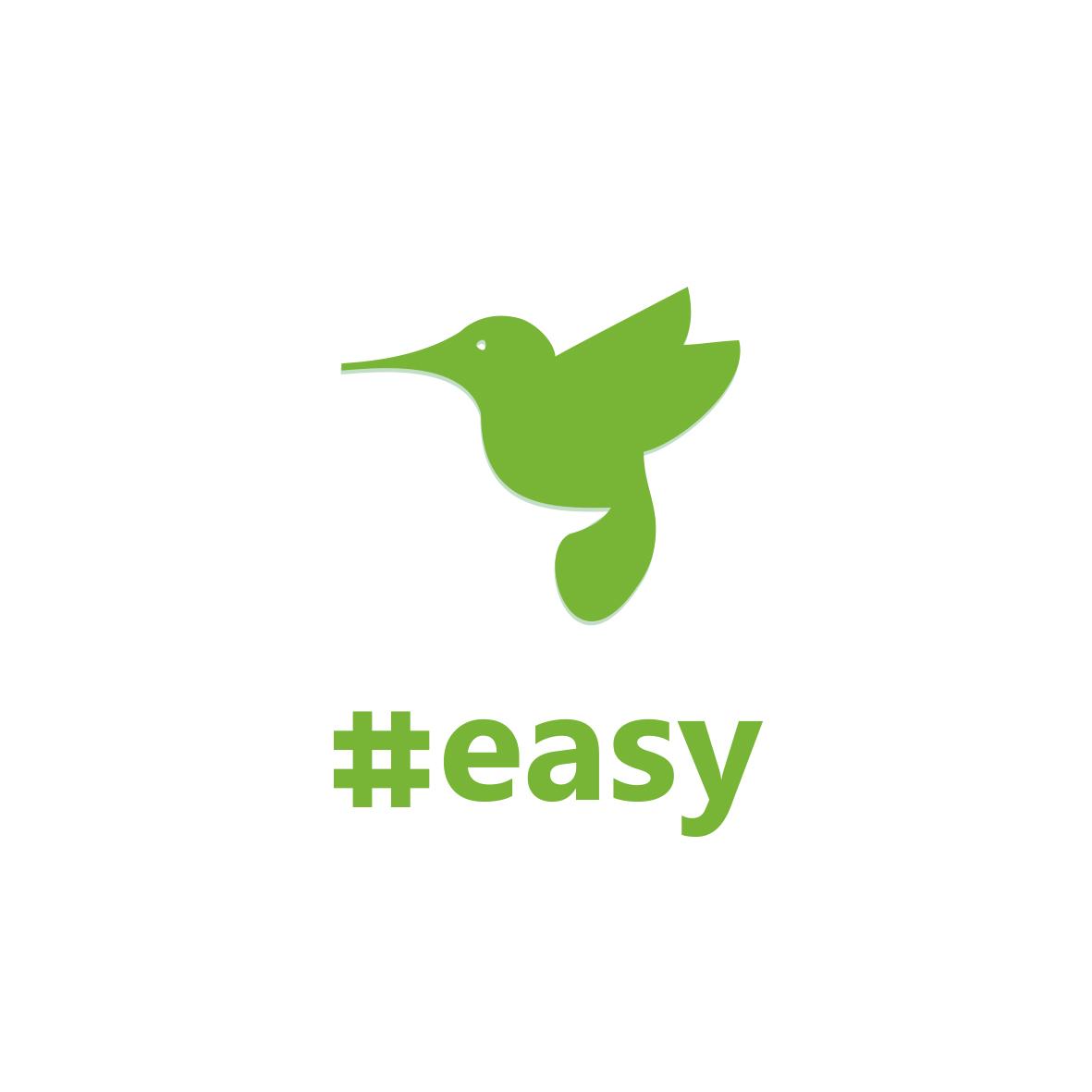 Разработка логотипа в виде хэштега #easy с зеленой колибри  фото f_1715d4e01f4b6d4f.jpg