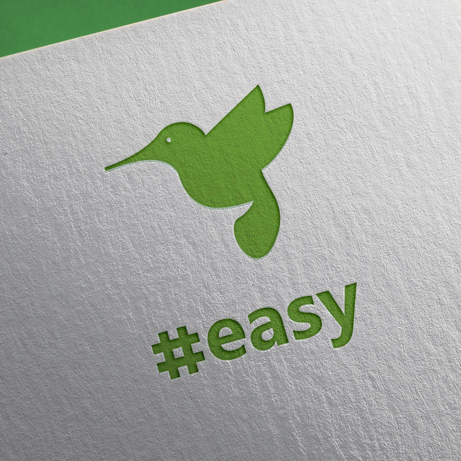 Разработка логотипа в виде хэштега #easy с зеленой колибри  фото f_2275d4e01fa1bfc4.jpg